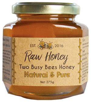 Pure-raw-honey-in-a-glass-jar-Two-Busy-Bees-Raw-Honey
