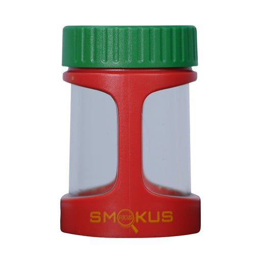 Smokus Focus Stash Display Container w/ LED Light and Dual Magnification - Rasta (Red/Green/Yellow)-NWGSupply.com