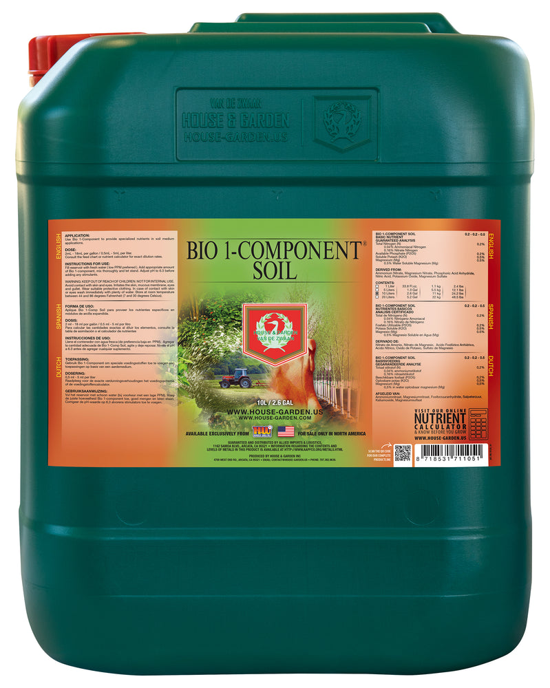 House and Garden Bio 1-Component Soil 10 Liter (SO Only)-NWGSupply.com