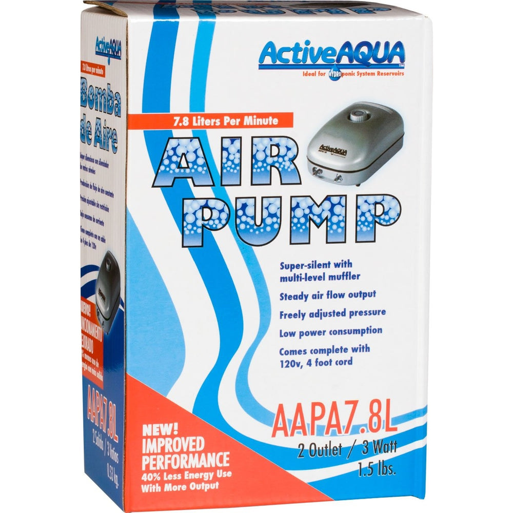 Active Aqua Air Pump, 2 Outlets, 3W, 7.8 L/min-NWGSupply.com