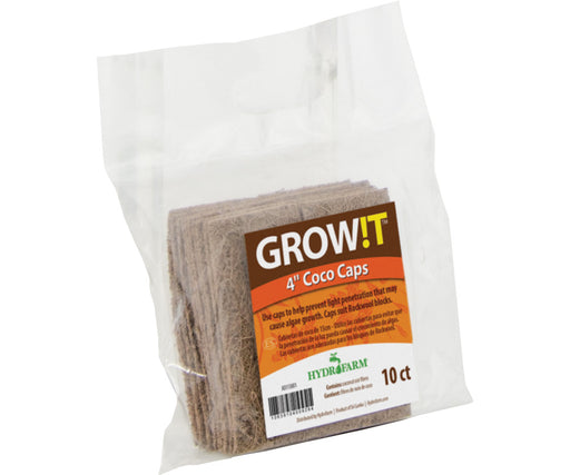 "GROW!T Coco Caps, 4"", pack of 10-NWGSupply.com"