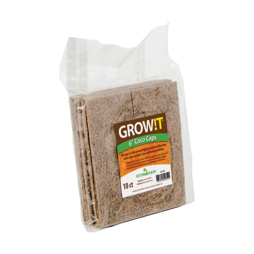 "GROW!T Coco Caps, 6"", pack of 10-NWGSupply.com"