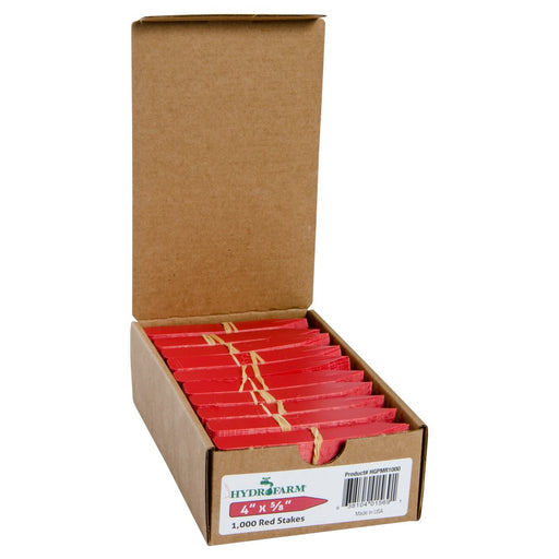 "Hydrofarm Plant Stake Labels, Red, 4"" x 5/8"", case of 1000-NWGSupply.com"