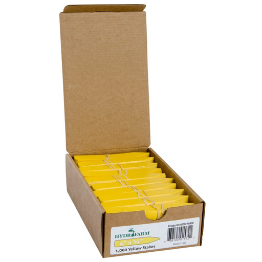 "Hydrofarm Plant Stake Labels, Yellow, 4"" x 5/8"", case of 1000-NWGSupply.com"