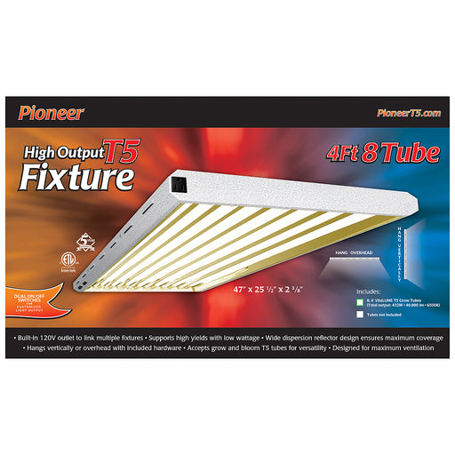 Pioneer 4' x 8 Tube T5 Fixture with Grow Tubes-NWGSupply.com