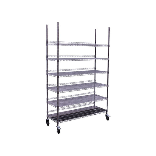 Hydro Flow Commercial Grade Chrome Storage Rack - 6 Shelves w/ Backstop & Casters-NWGSupply.com