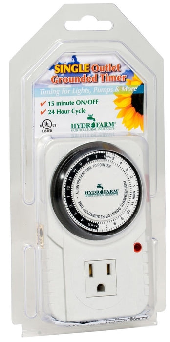 Hydrofarm Hydrofarm Analog Grounded Timer, 1725W, 15A, 15 Minute On/Of