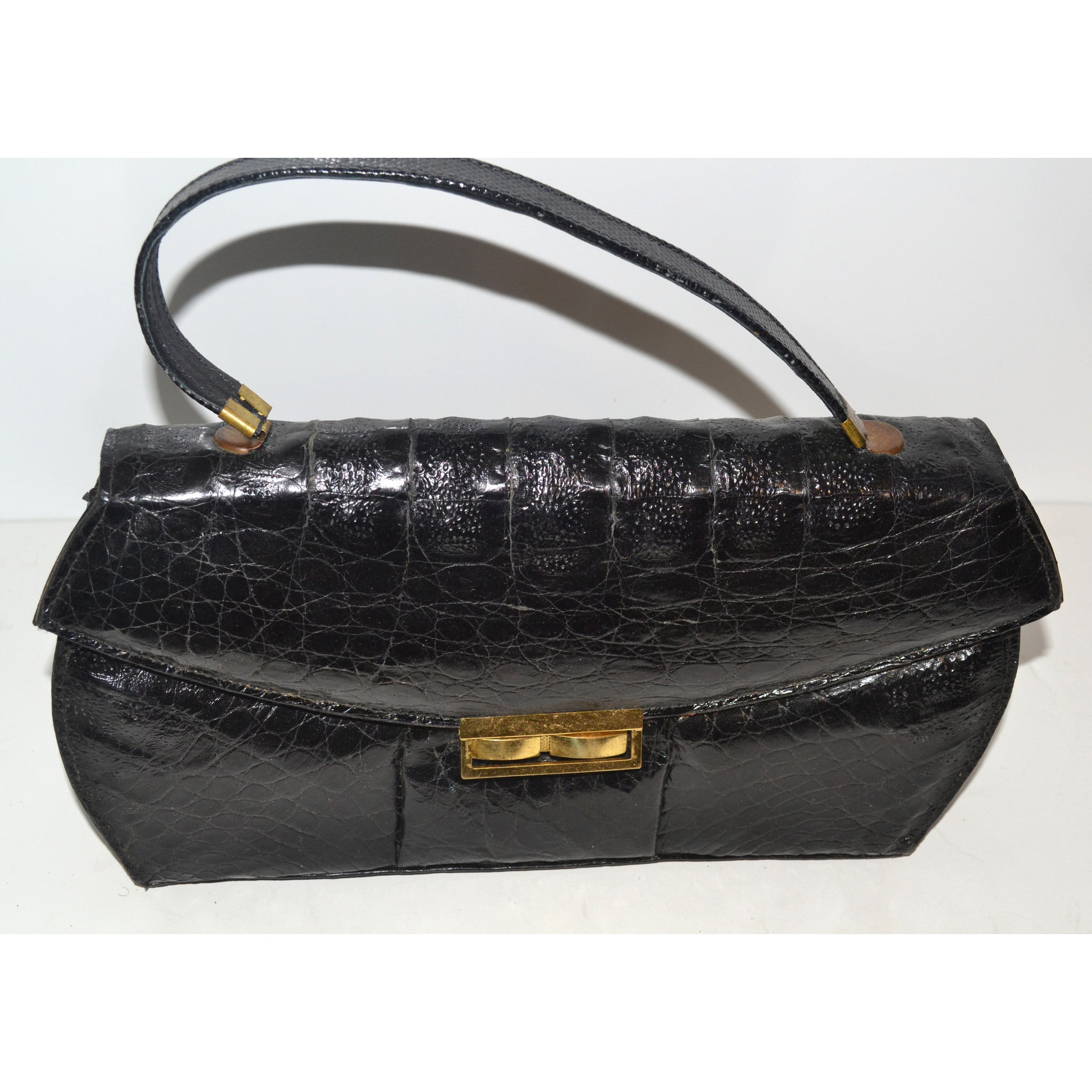 Vintage Black Curved Genuine Alligator Purse
