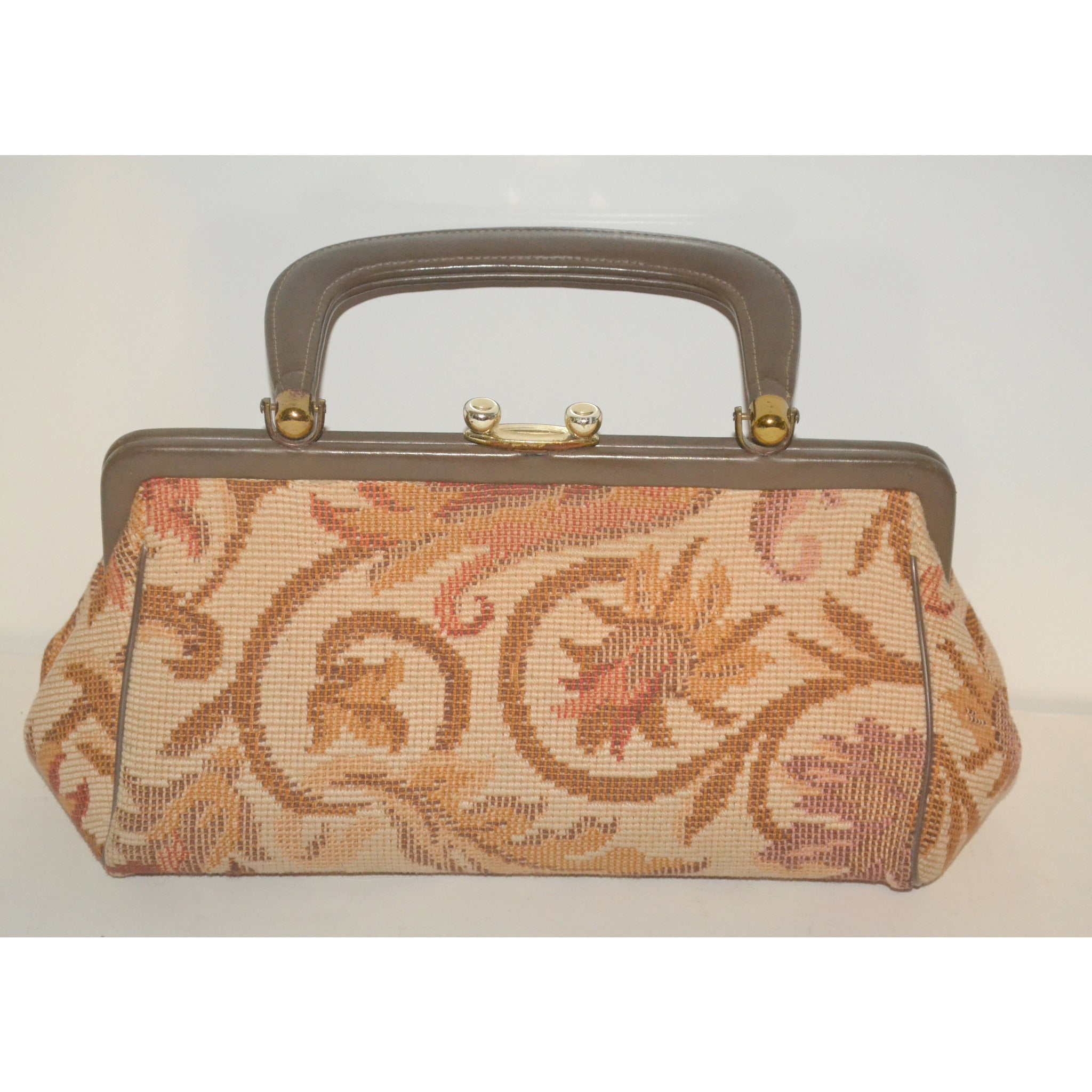 Vintage Brown Carpetbag Baguette Purse By Arnold