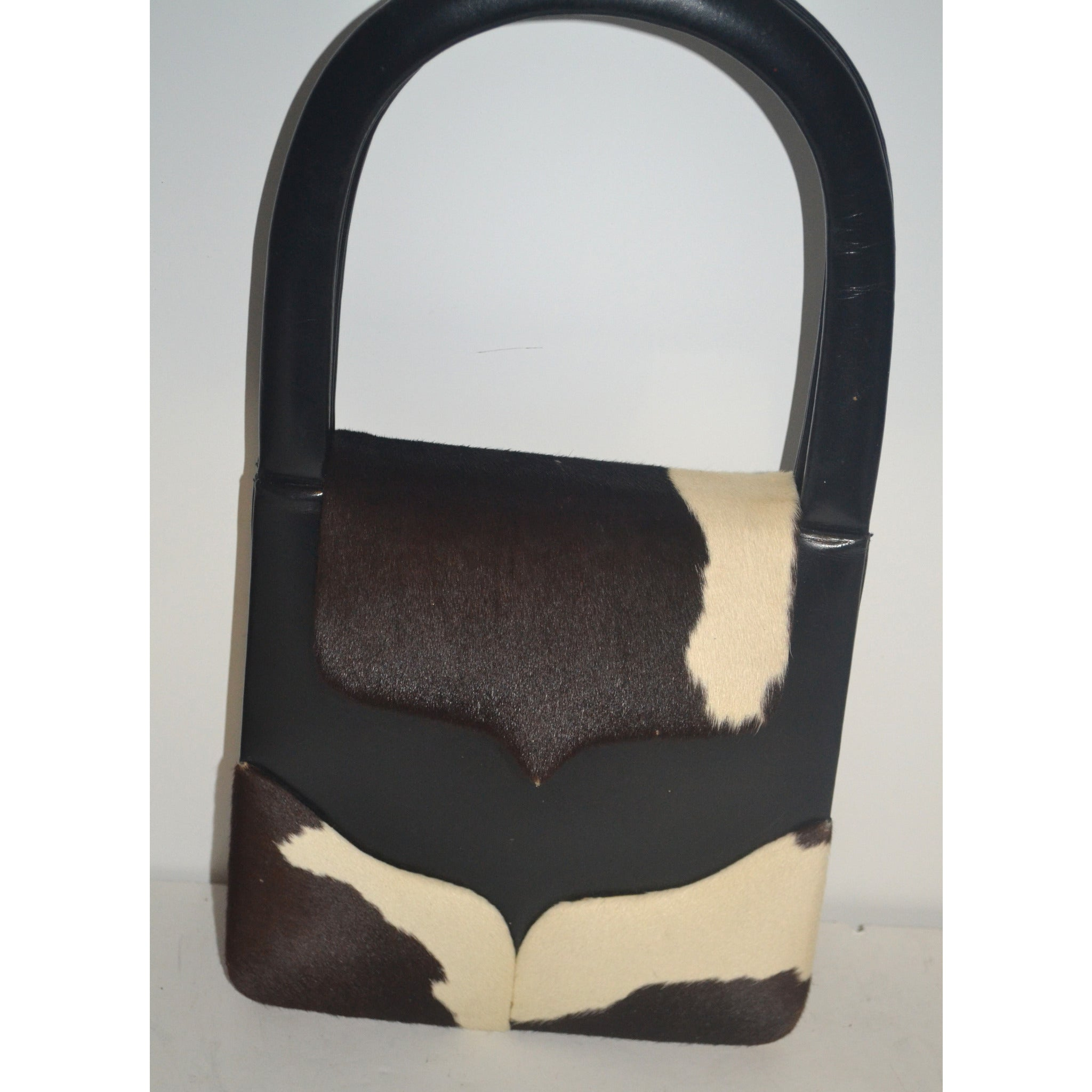 Vintage Black Leather & Pony Hair Scuptural Handbag By Art Mex