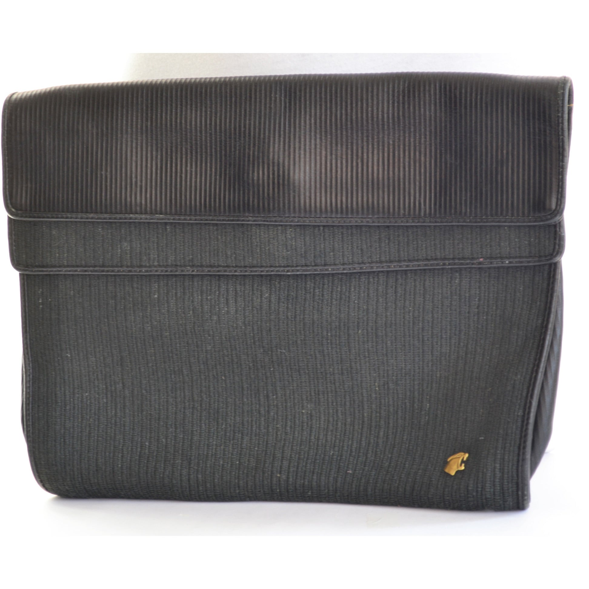Vintage Ribbed Black Leather Clutch Purse By Bagheera