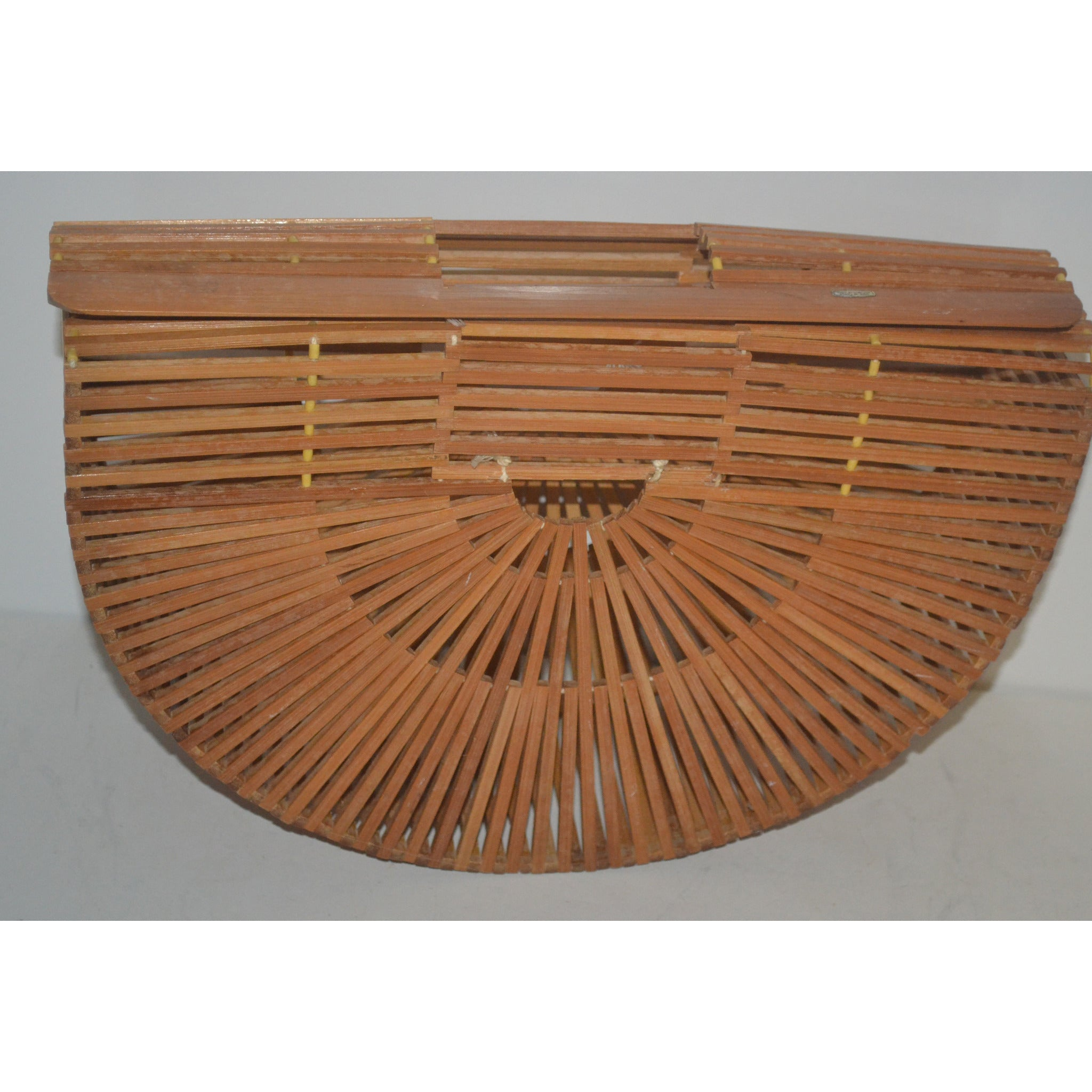 Vintage Natural Bamboo Fan Purse