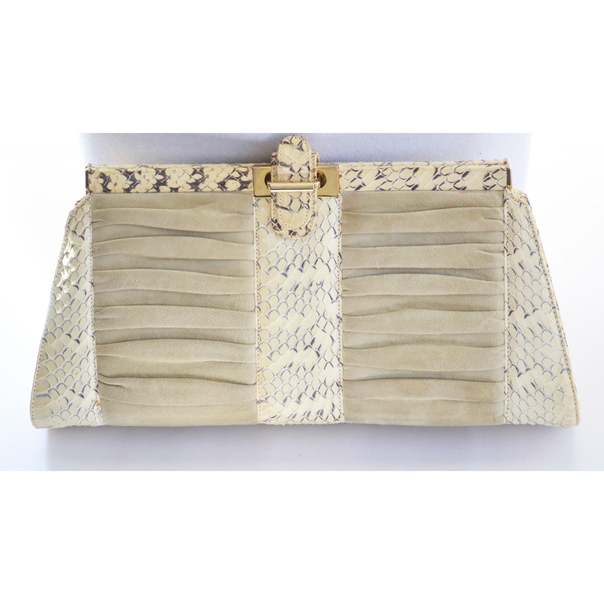Vintage Cream Python Italian Purse By Battaglia - 1980's
