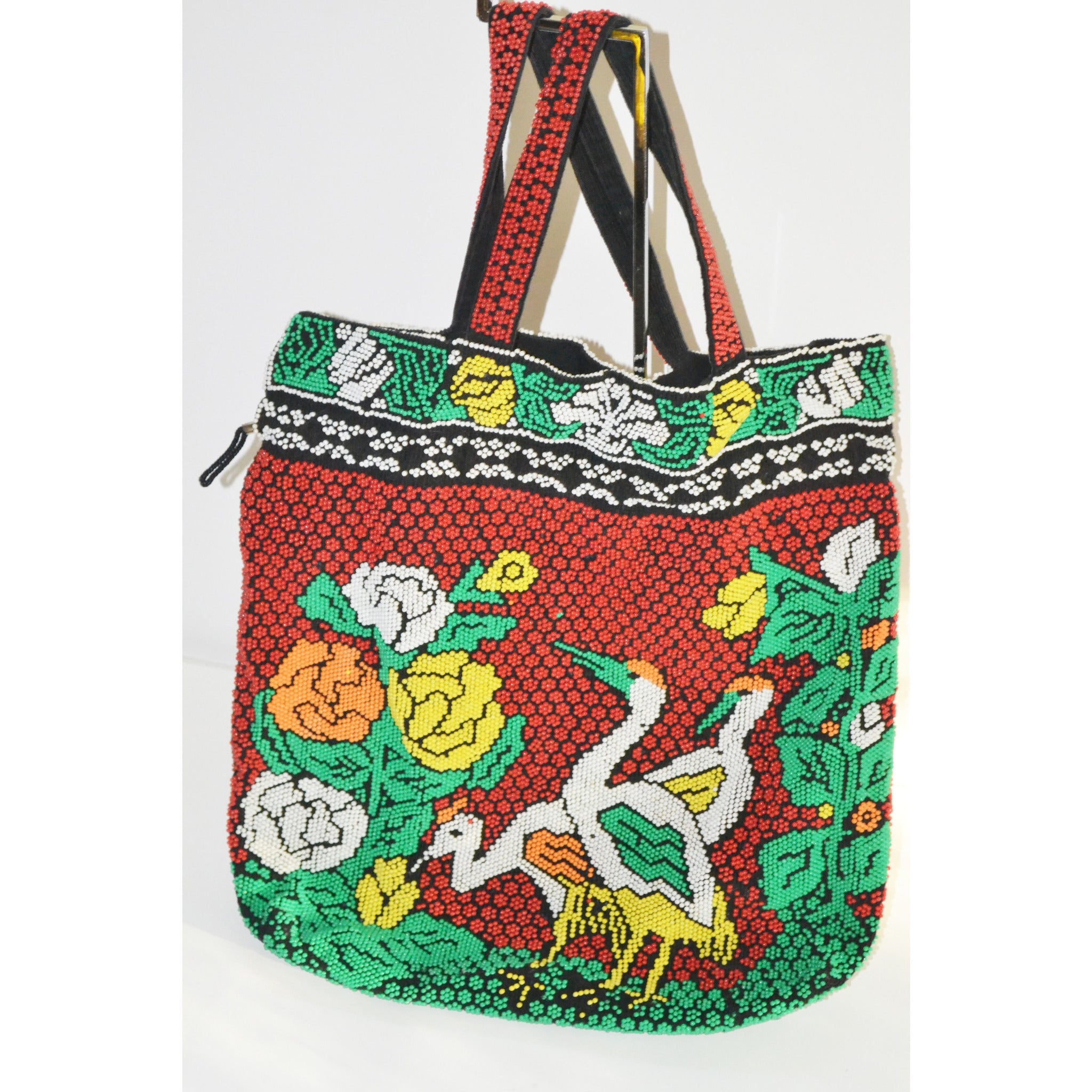 Vintage Bird Motif Candy Beaded Tote Purse