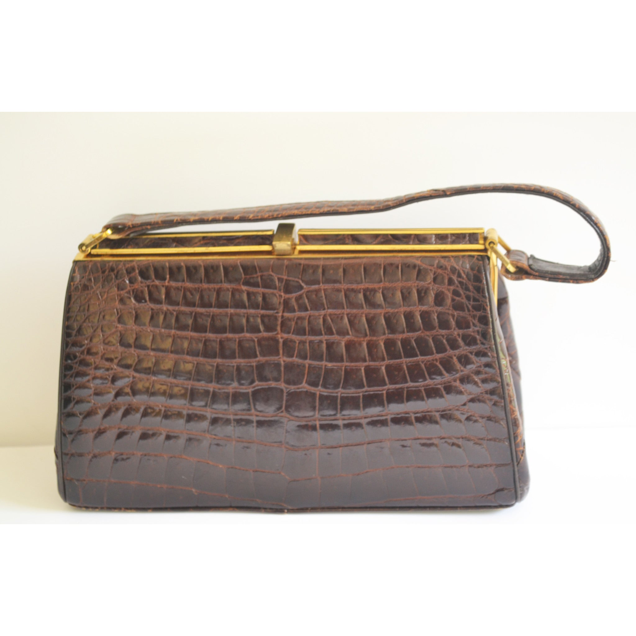 Vintage Brown Alligator Purse By Bellstone