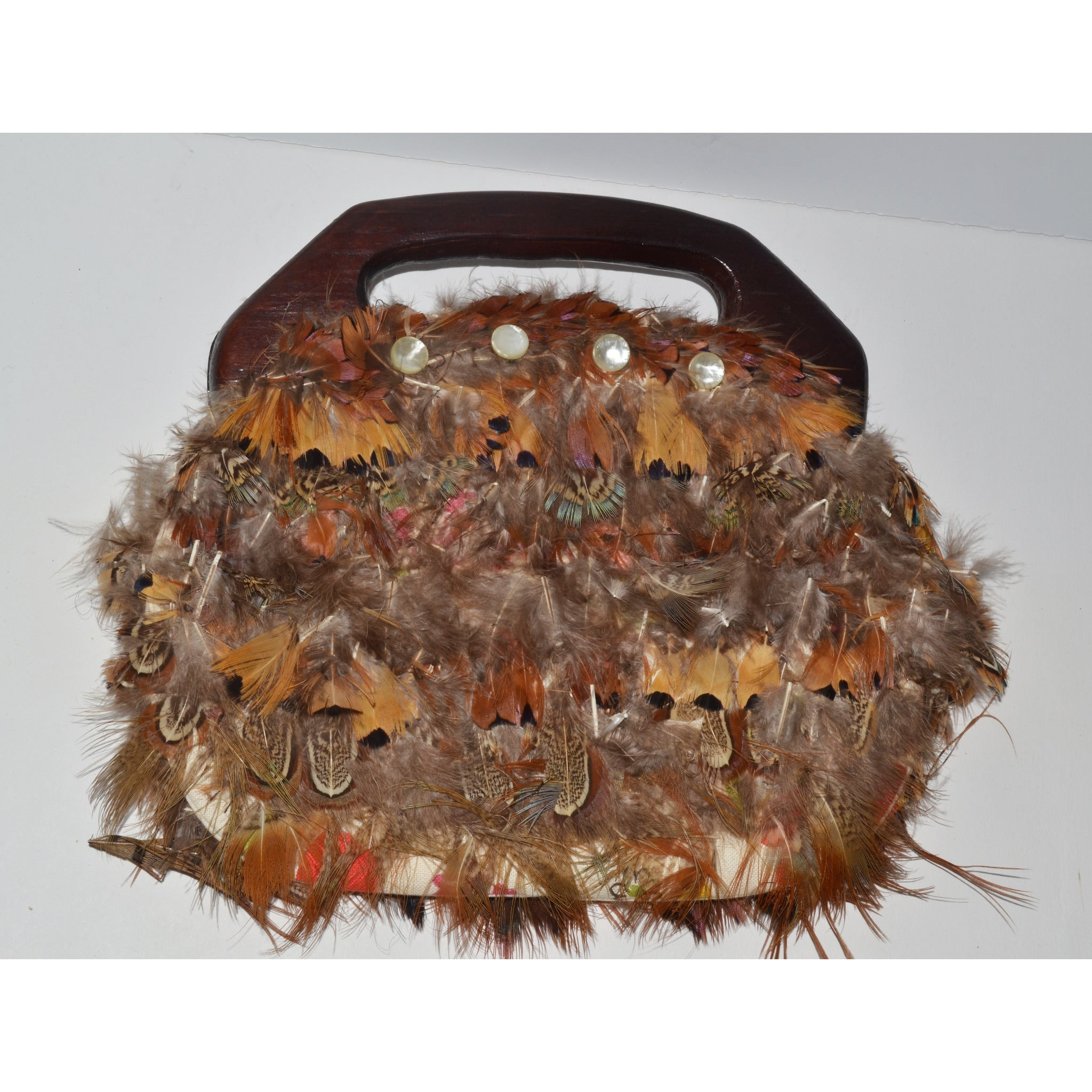 Vintage Pheasant Feather Bermuda Style Purse