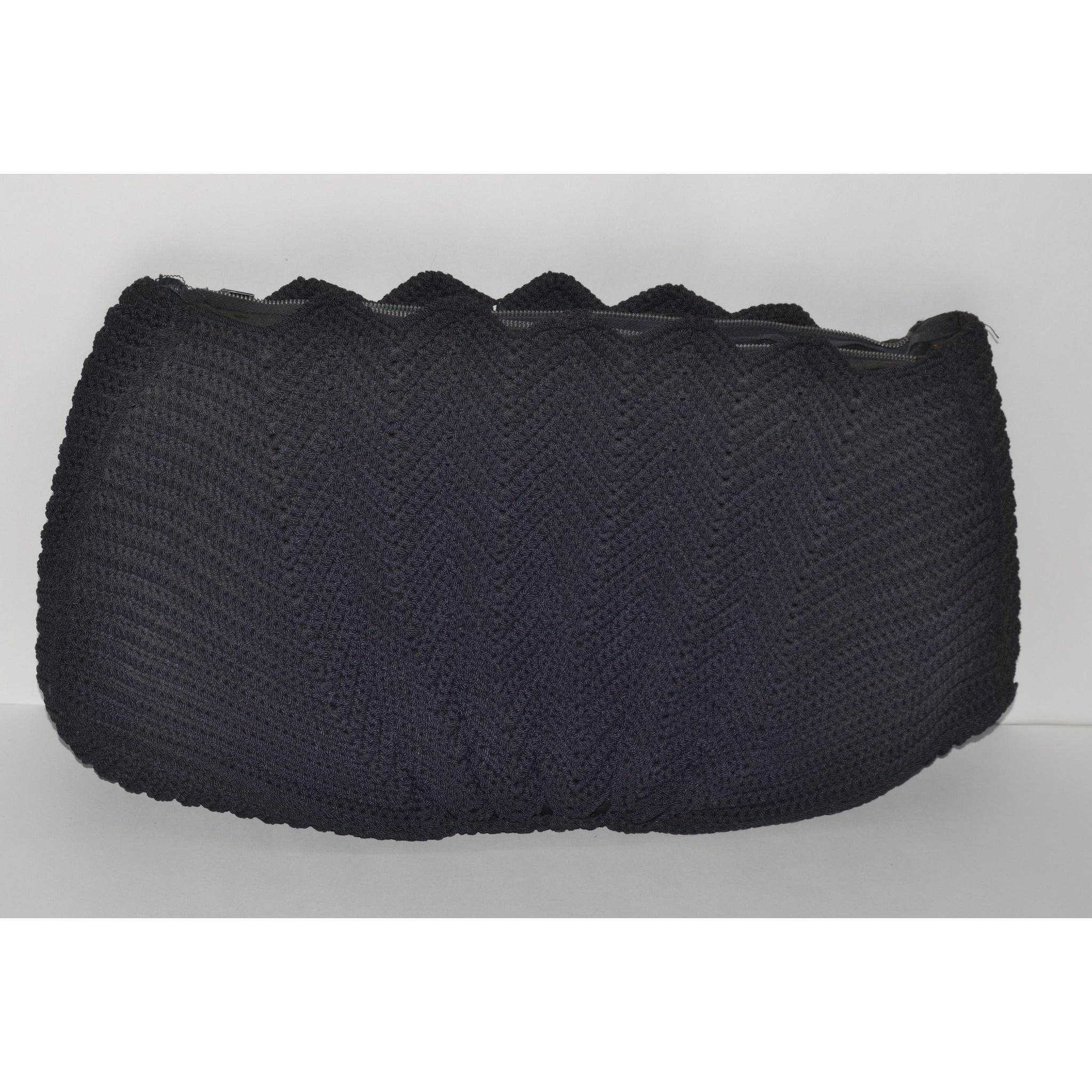 Vintage Black Crochet Fan Clutch Purse