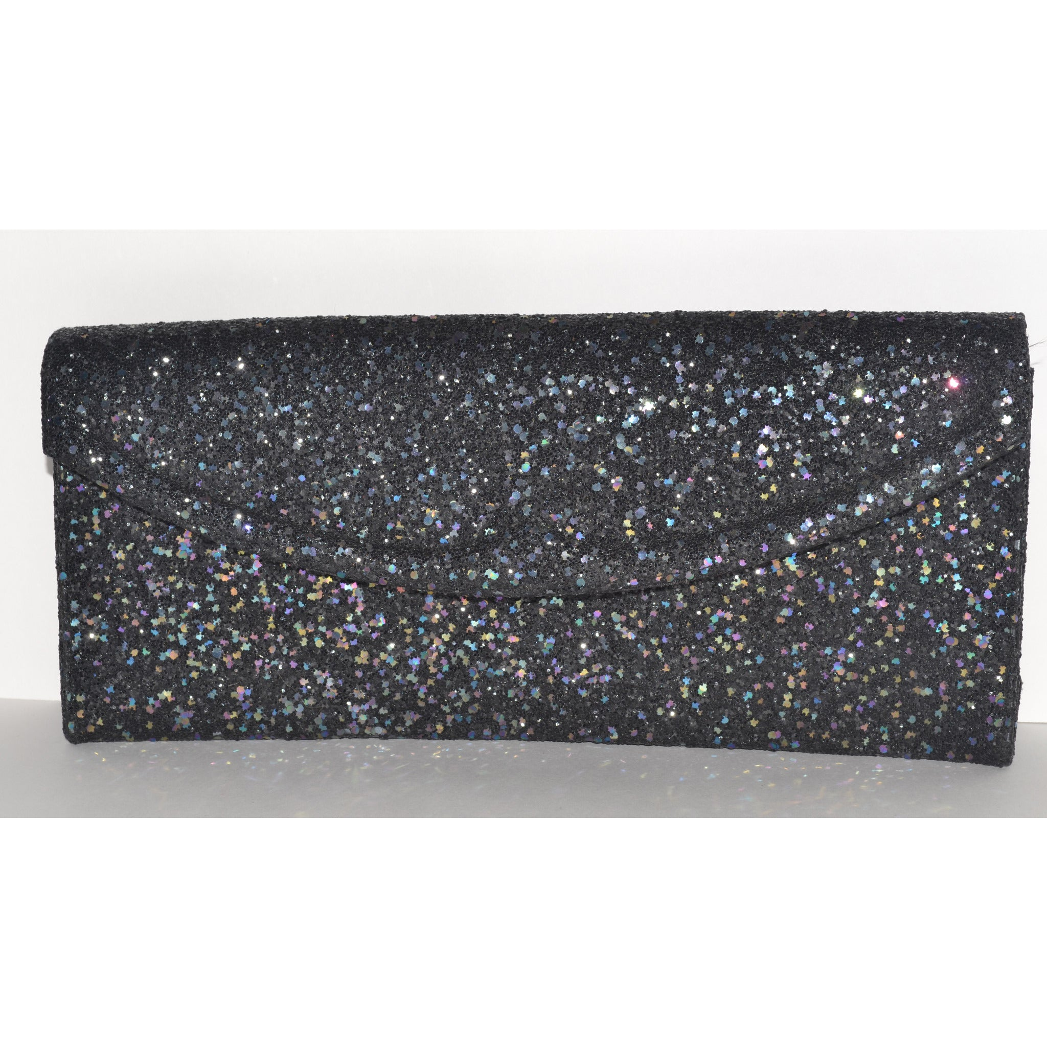 Vintage Sparkling Black Glitter Clutch Purse By Lennox