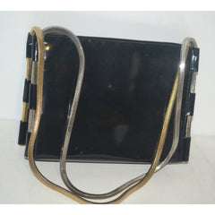 Vintage Black Patent Metal Trimmed Purse