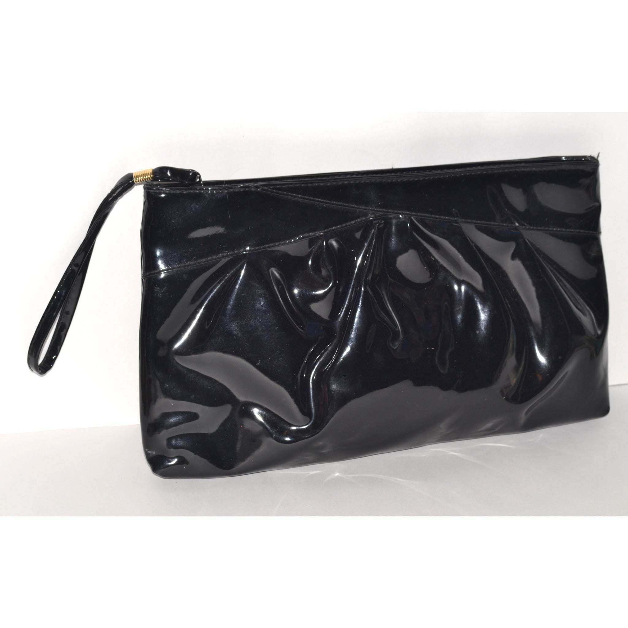 Vintage Black Patent Leather Clutch Purse