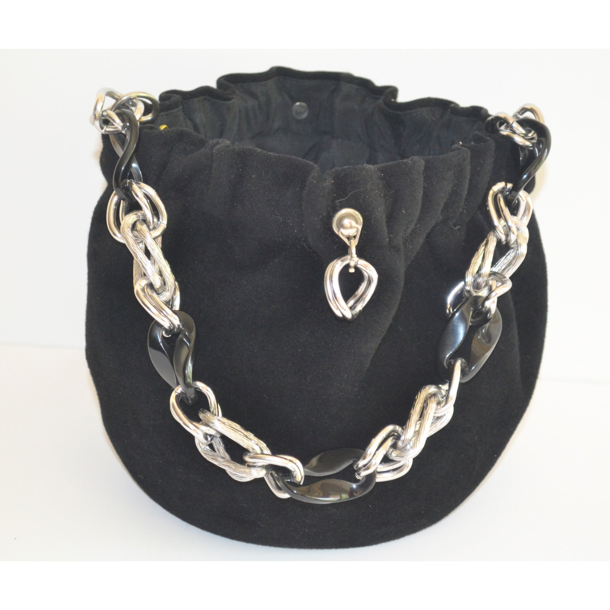 Vintage Black Velvet Chain Purse By Morris Moskowitz