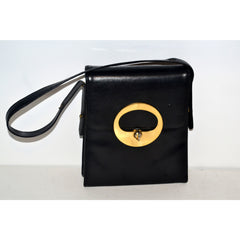 Vintage Rectangle Black Leather Purse By Block