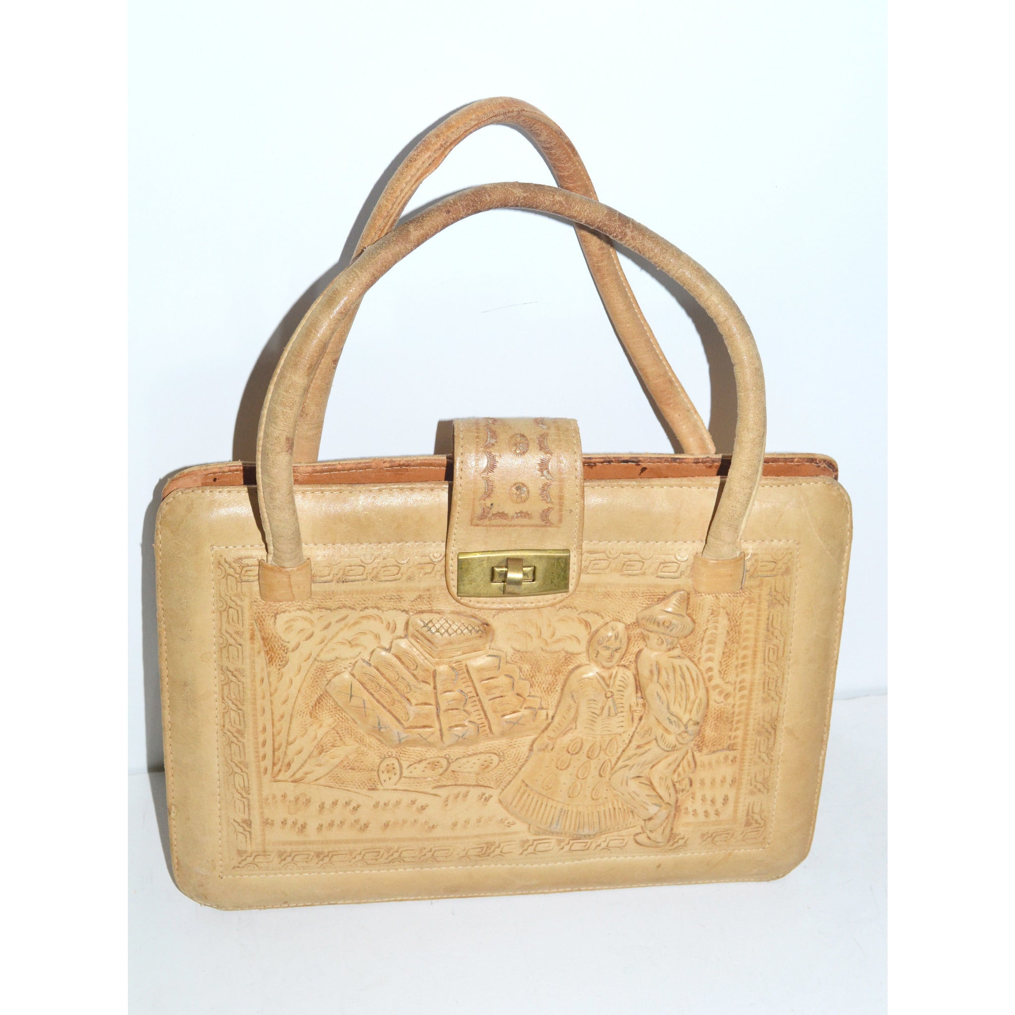 Vintage Natural Tooled Leather Mexican Purse