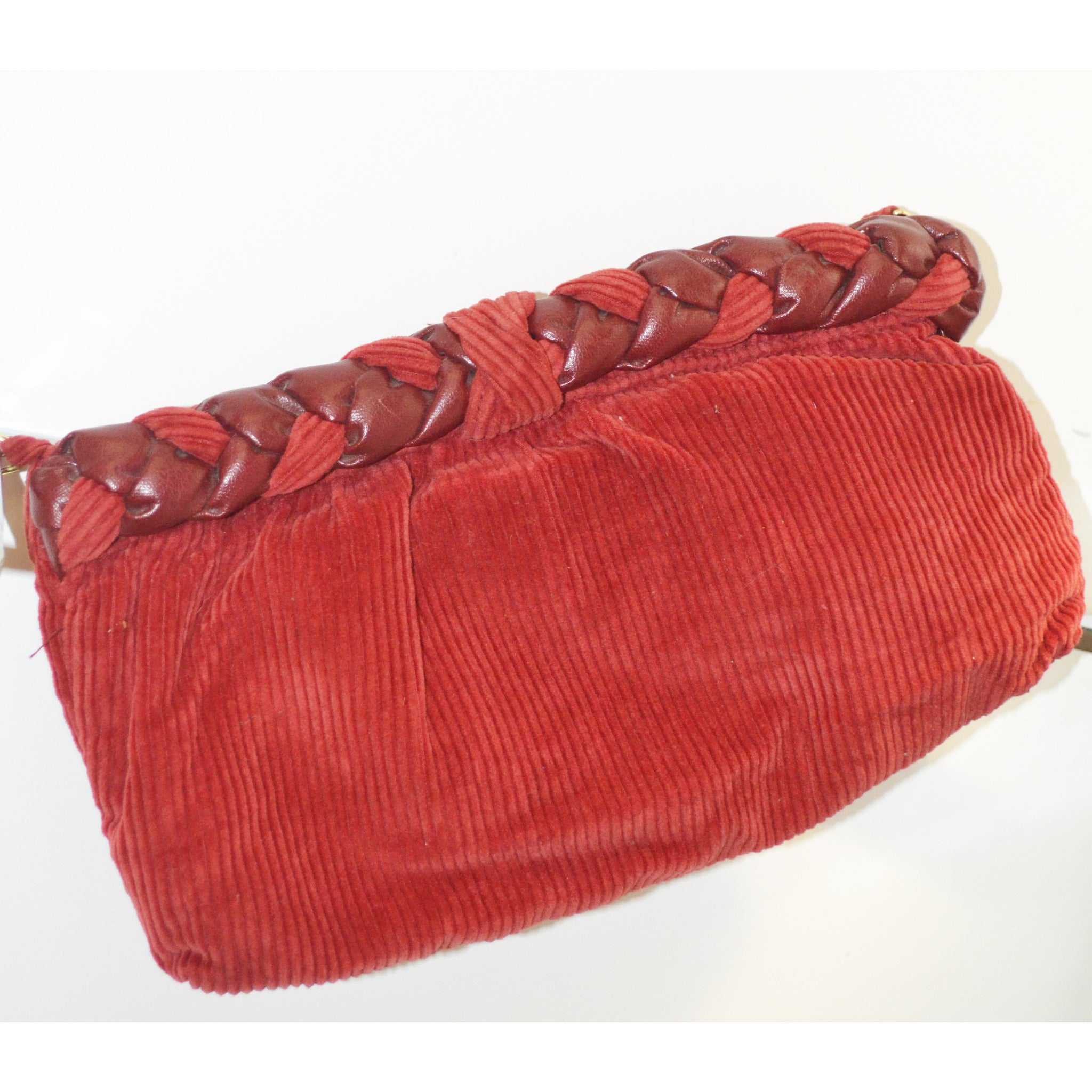 Vintage Burgundy Braided Corduroy Clutch Purse