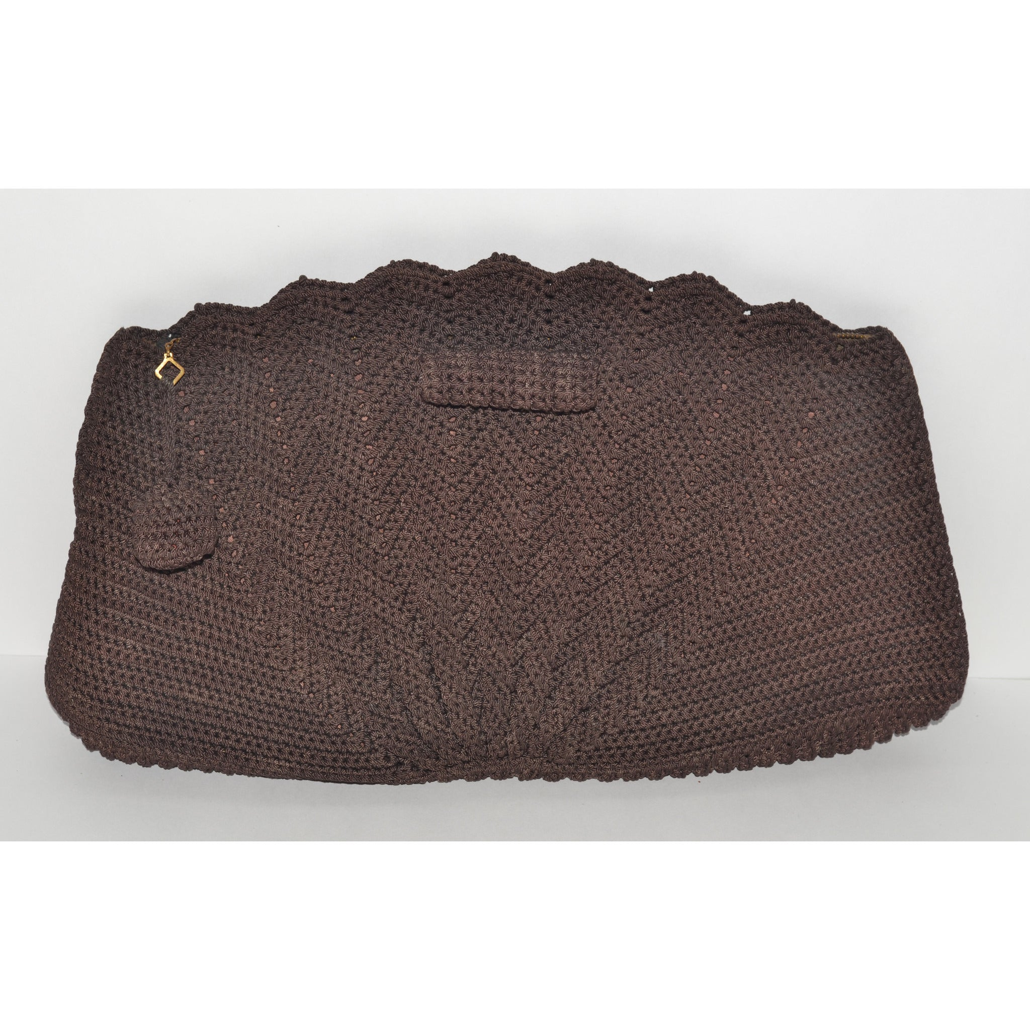 Vintage Brown Crochet Fan Clutch Purse