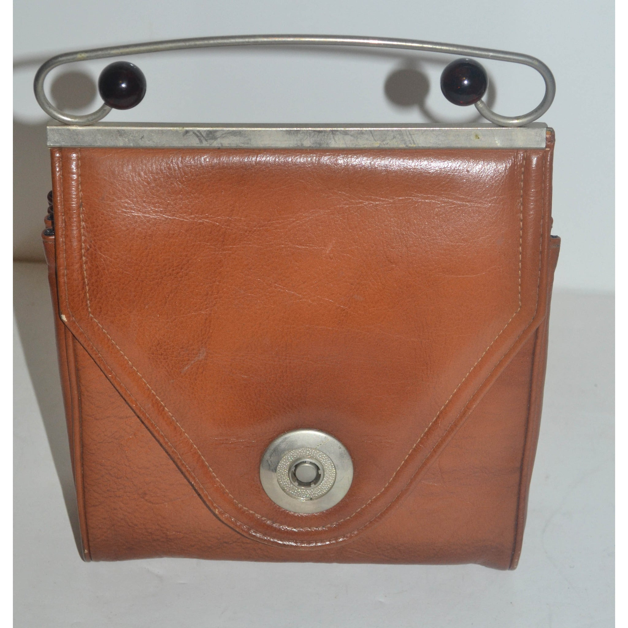 Vintage Brown Vinyl Handlebar Purse