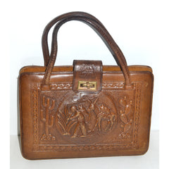 Vintage Brown Tooled Leather Mexican Purse