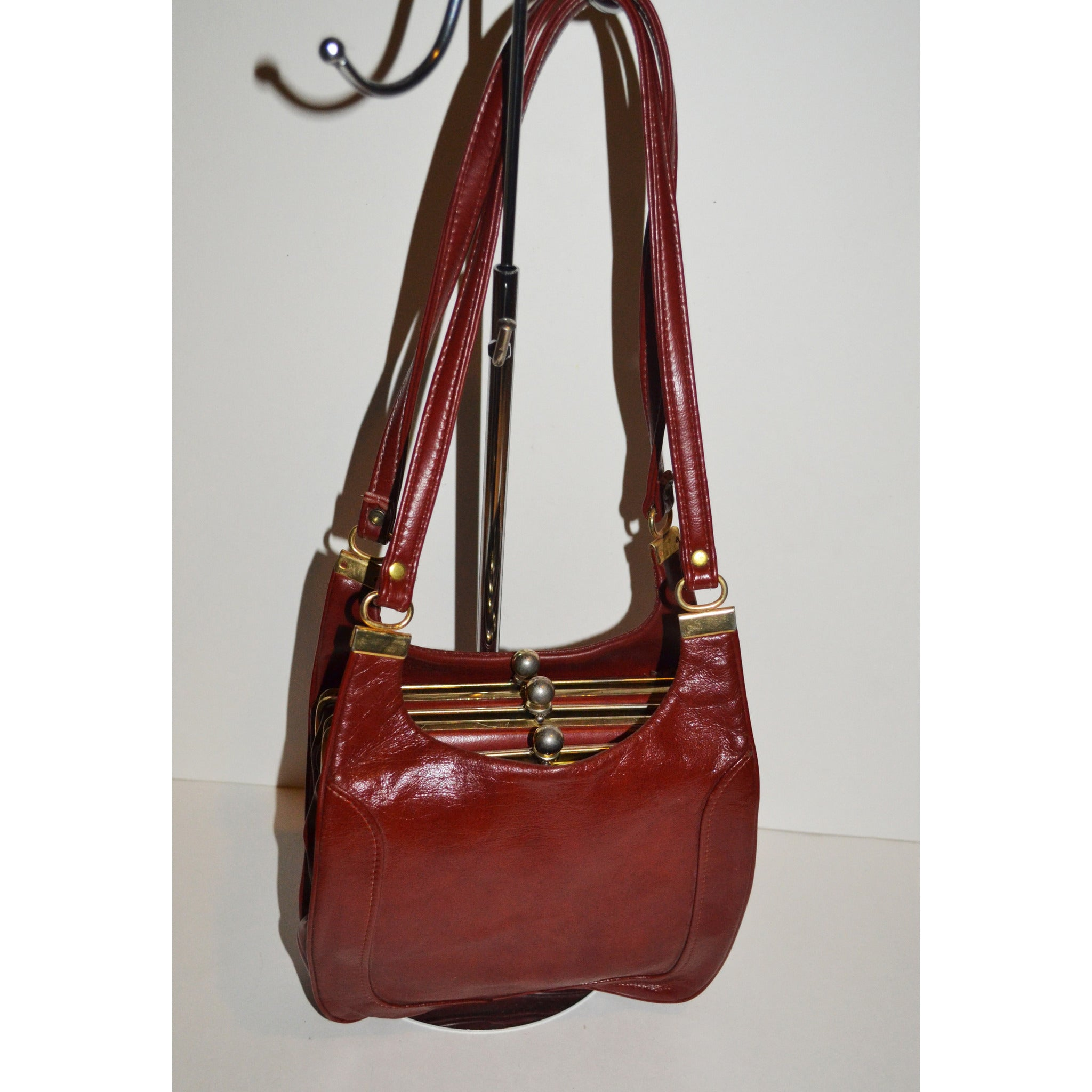 Vintage Burgundy Leatherette Shoulder Purse