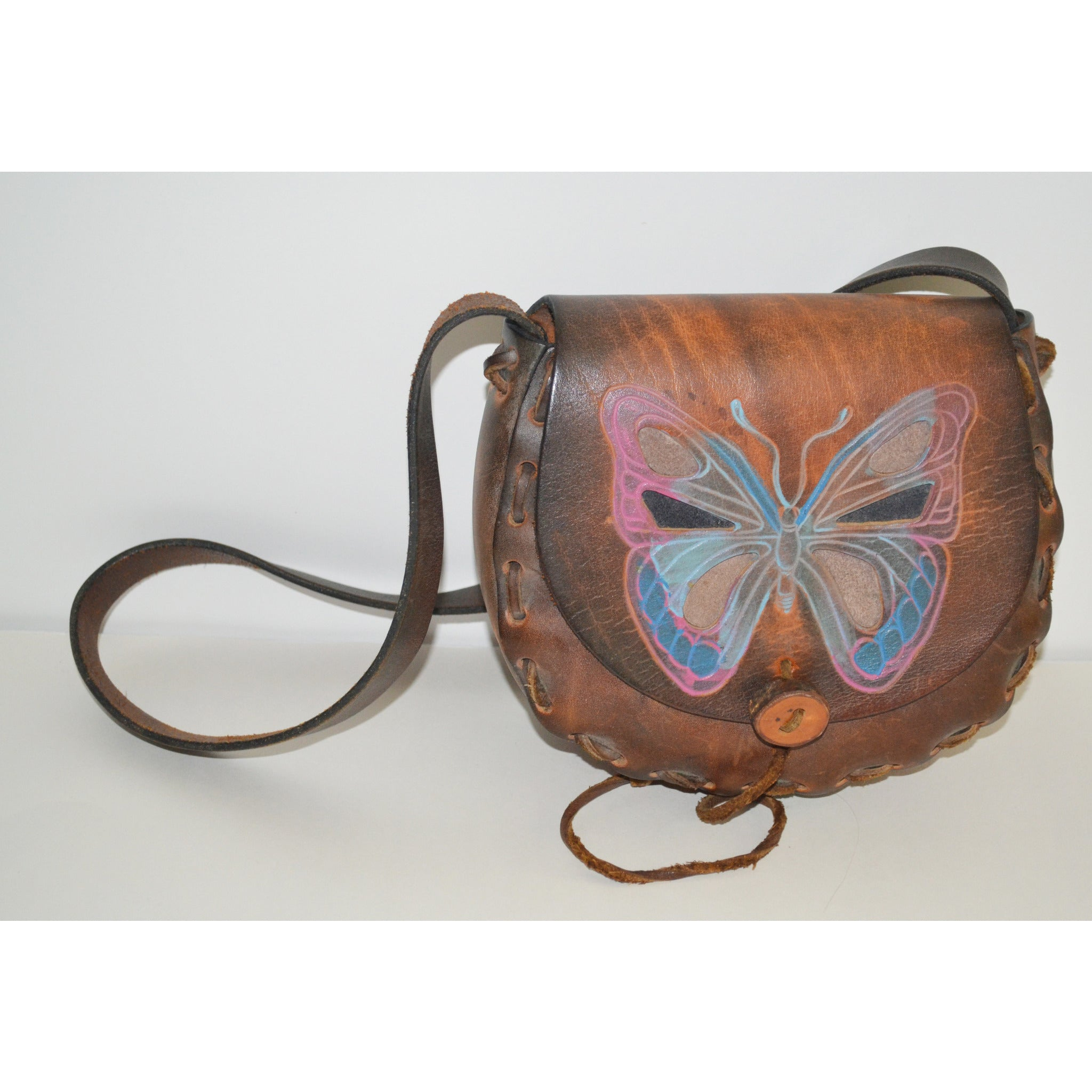 Vintage Hippy Tooled Leather Butterfly Purse