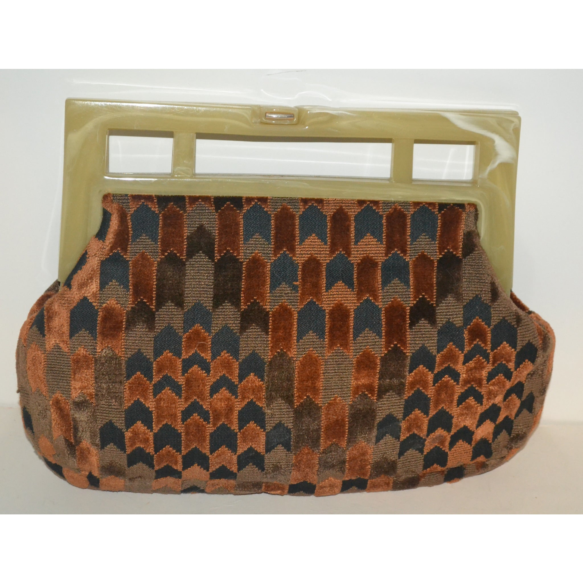 Vintage Lucite Framed Carpetbag Clutch Purse By Cara