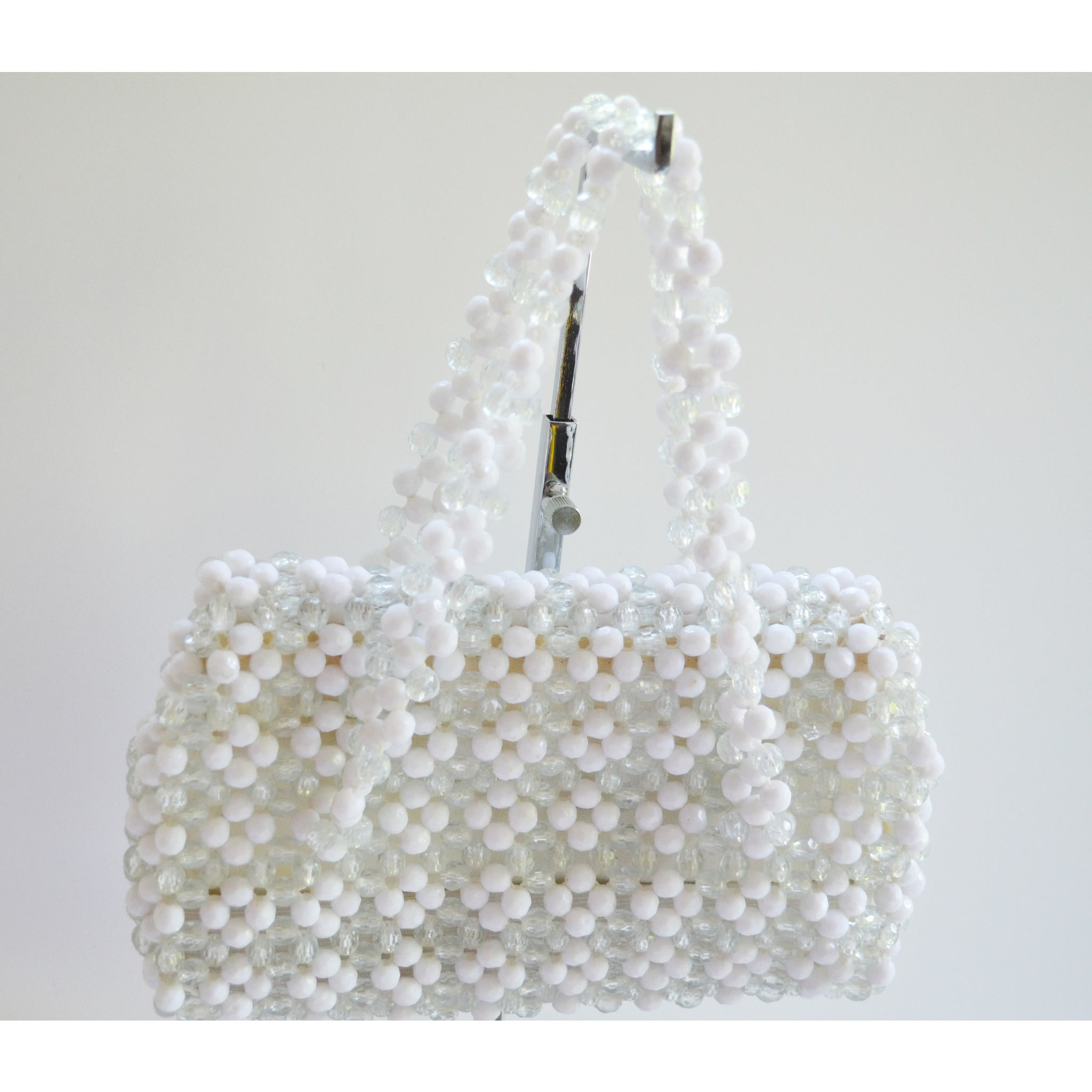 Vintage White Plastic Beaded Purse