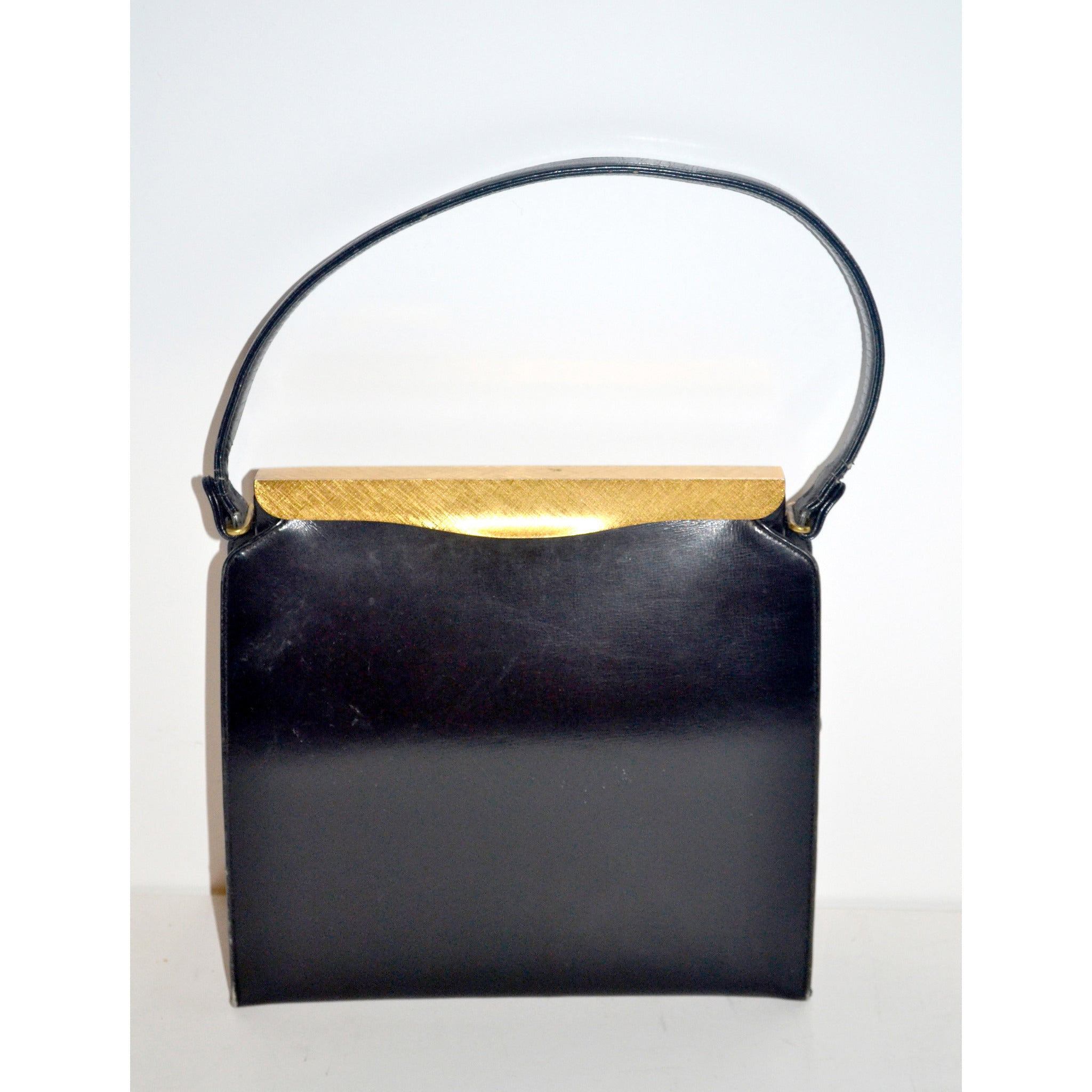 Vintage Black Leather Handbag By Coblentz