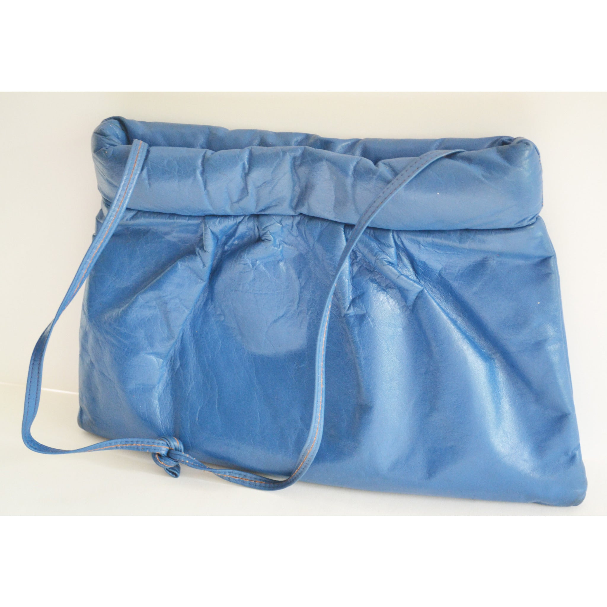 Vintage Blue Pleated Leather Clutch Purse