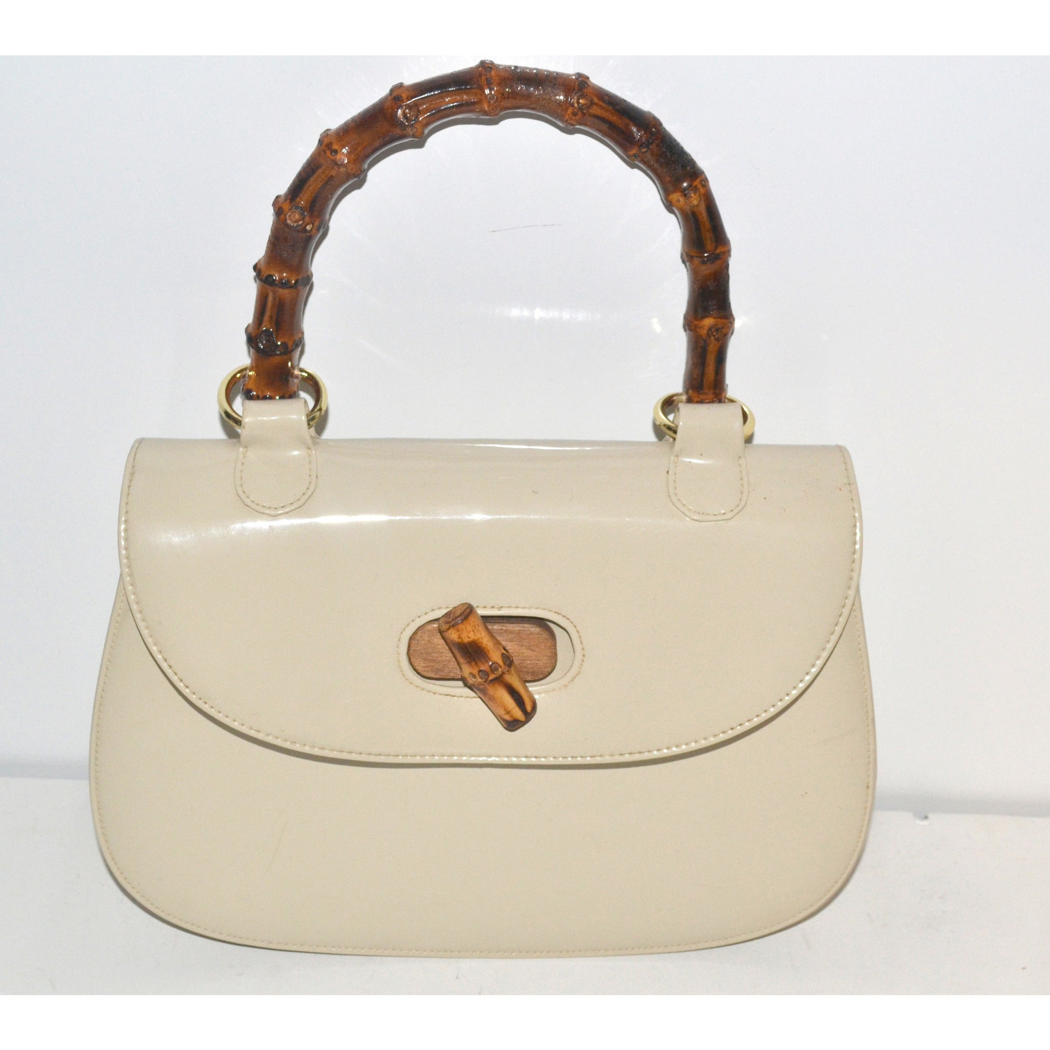 Vintage Gucci Style Patent Leather Bamboo Purse By Bonwit Teller
