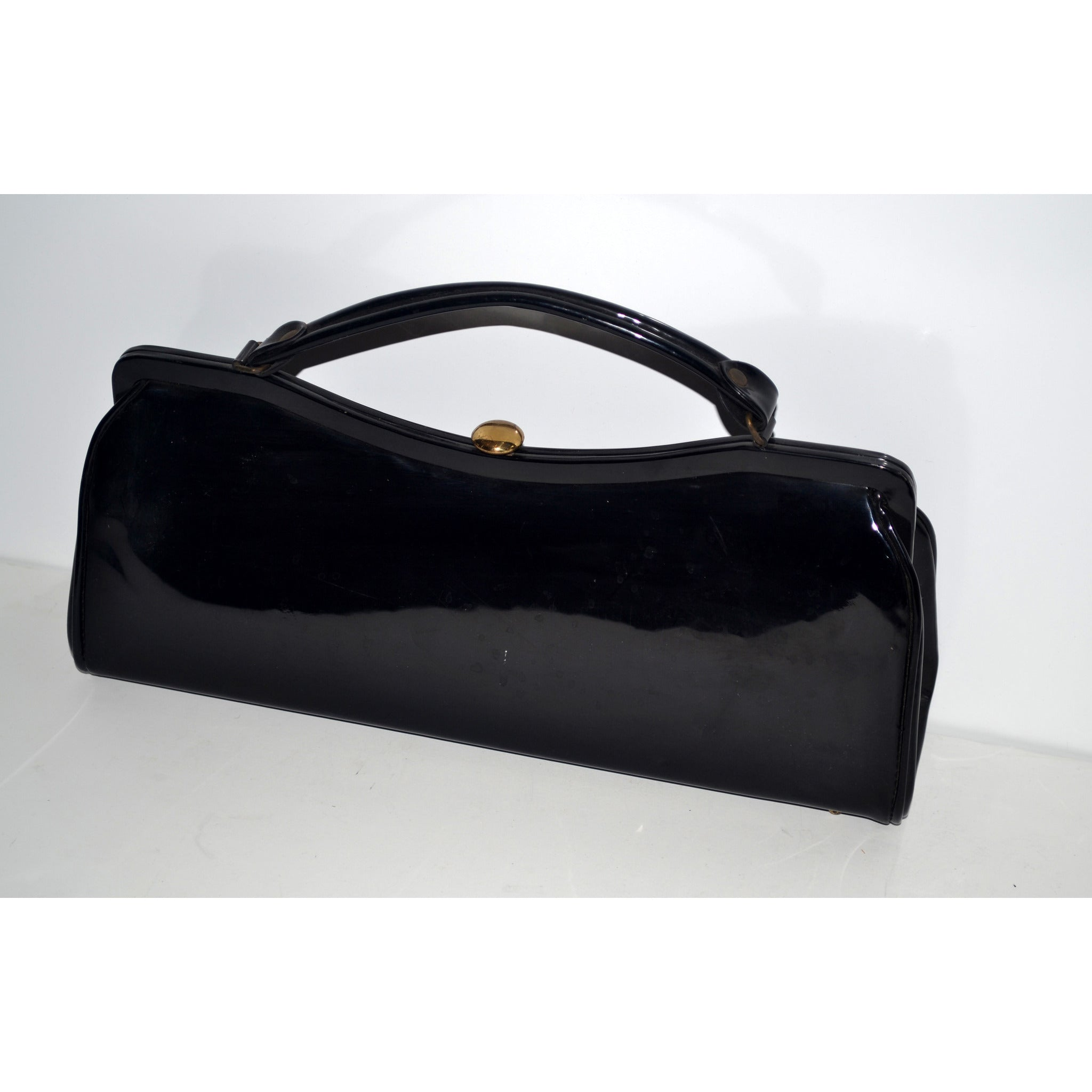 Vintage Curved Patent Leather Purse By Dover