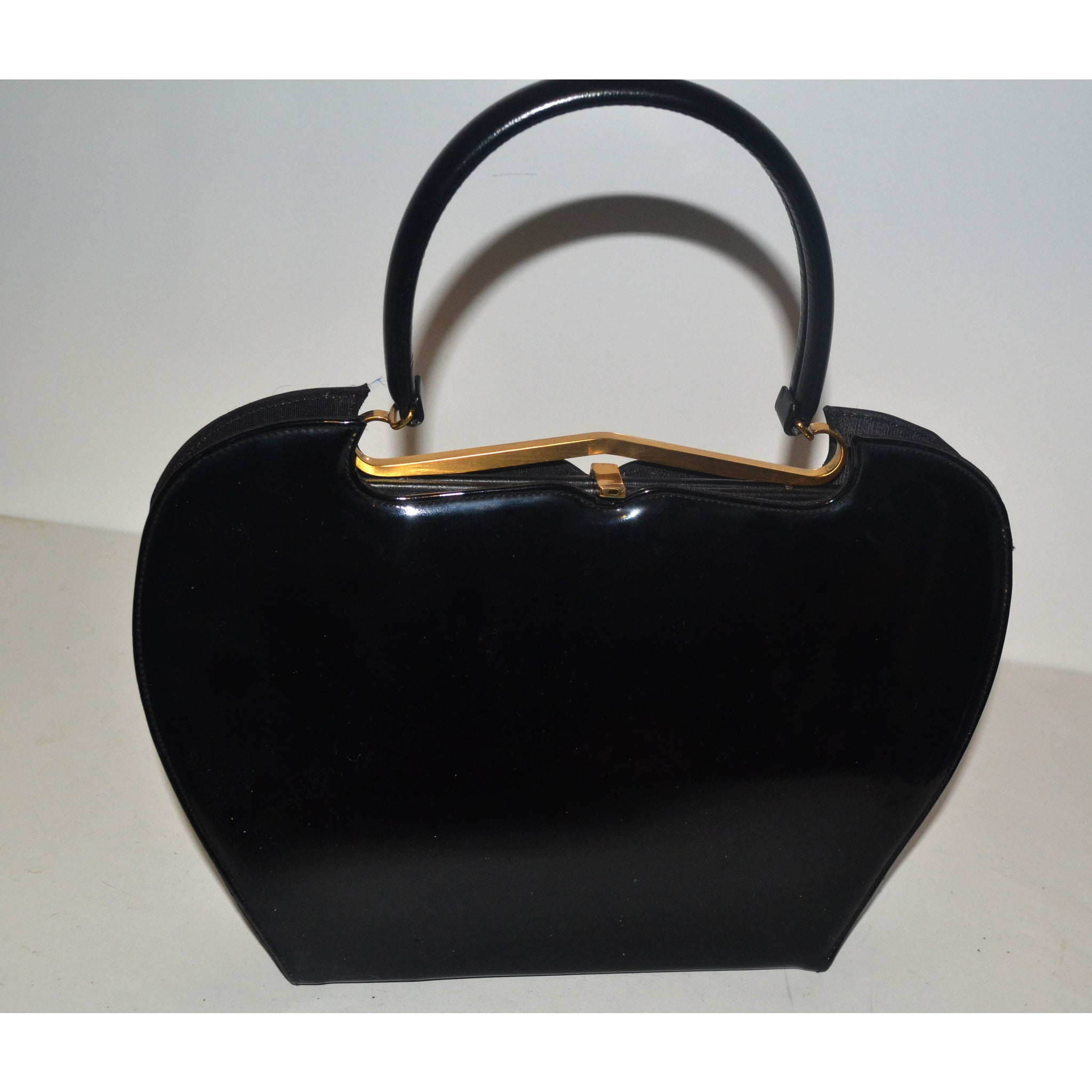 Vintage Sleek Black Patent Curved Purse