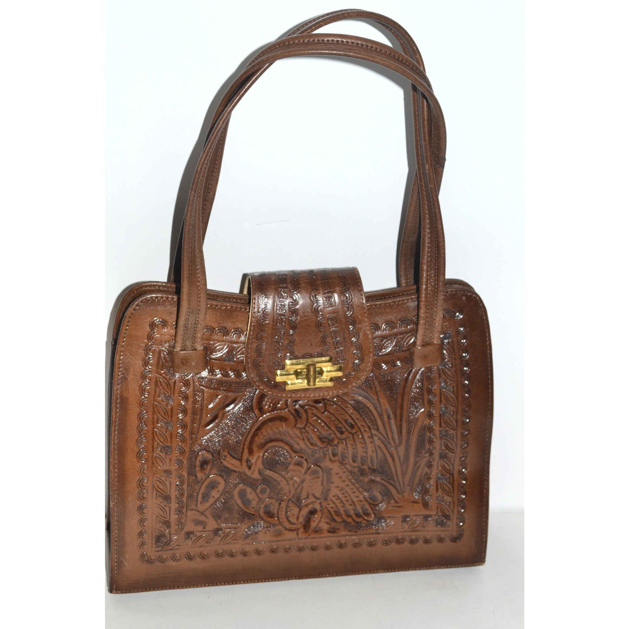 Vintage Mexican Brown Tooled Leather Eagle Purse