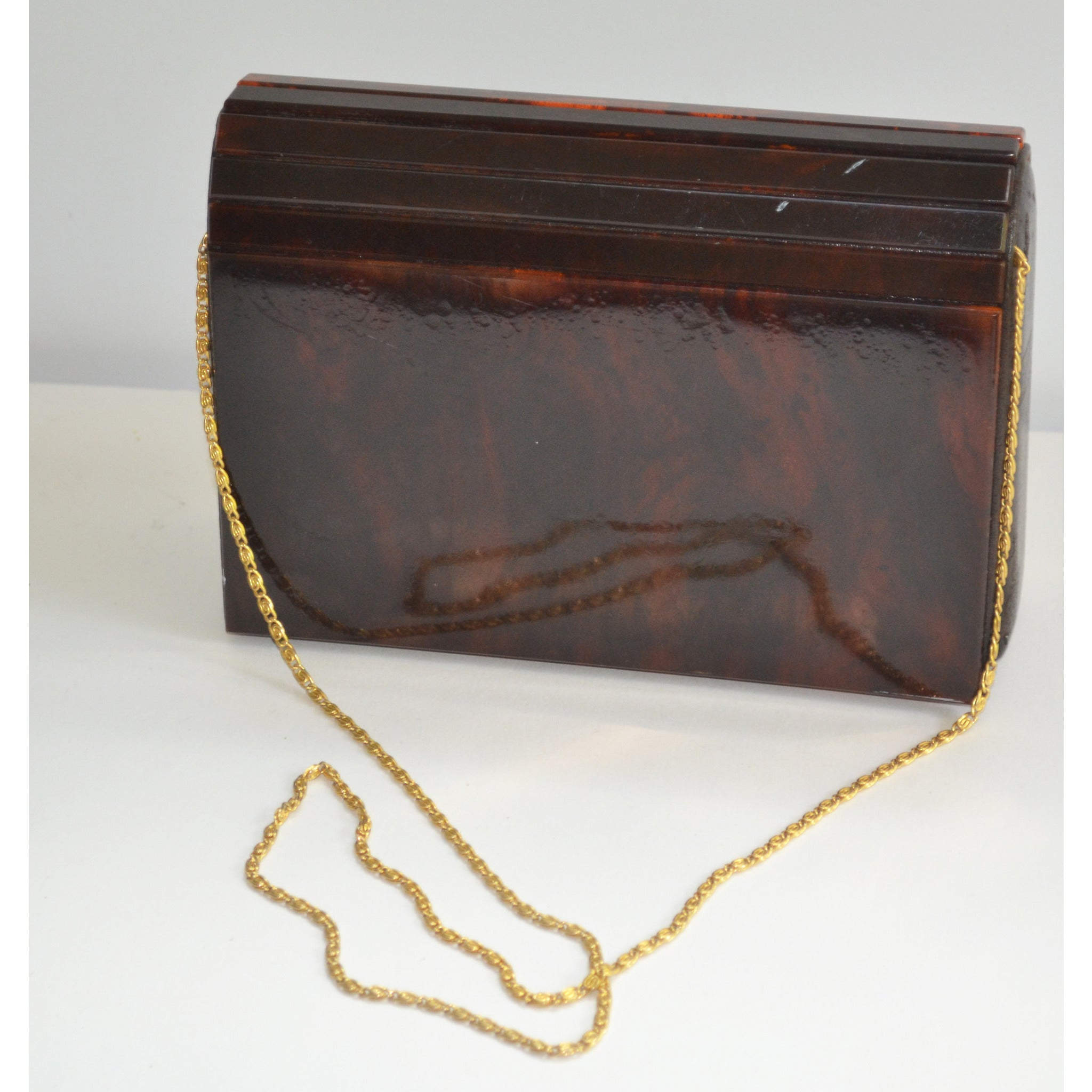 Vintage Brown Lucite Clutch Purse By Delill