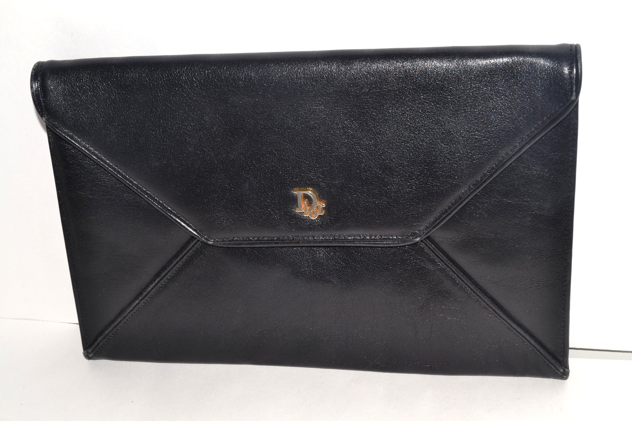 Vintage Christian Dior Black Leather Clutch