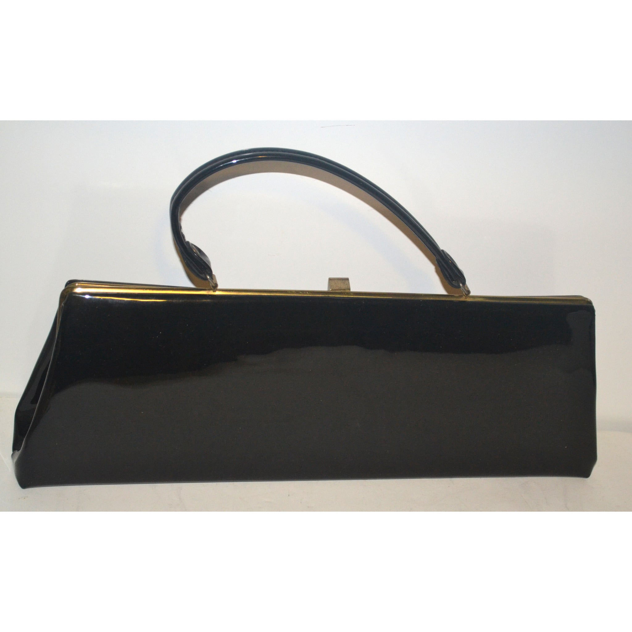 Vintage Elongated Black Patent Purse By Dover
