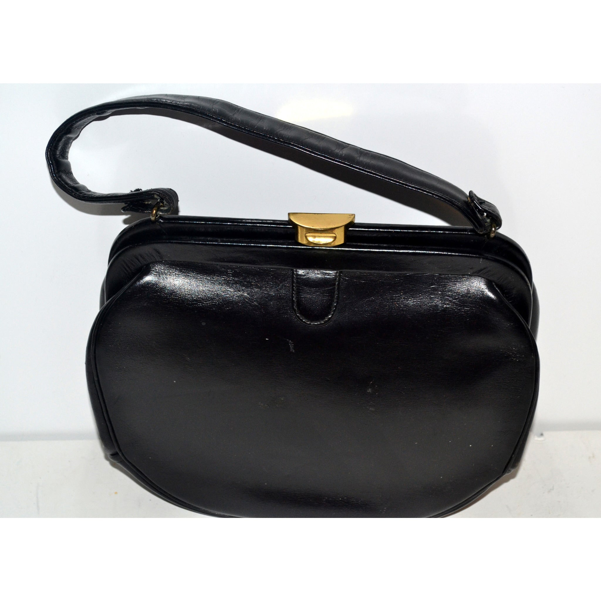 Vintage Black Leather Handbag Purse By Elite