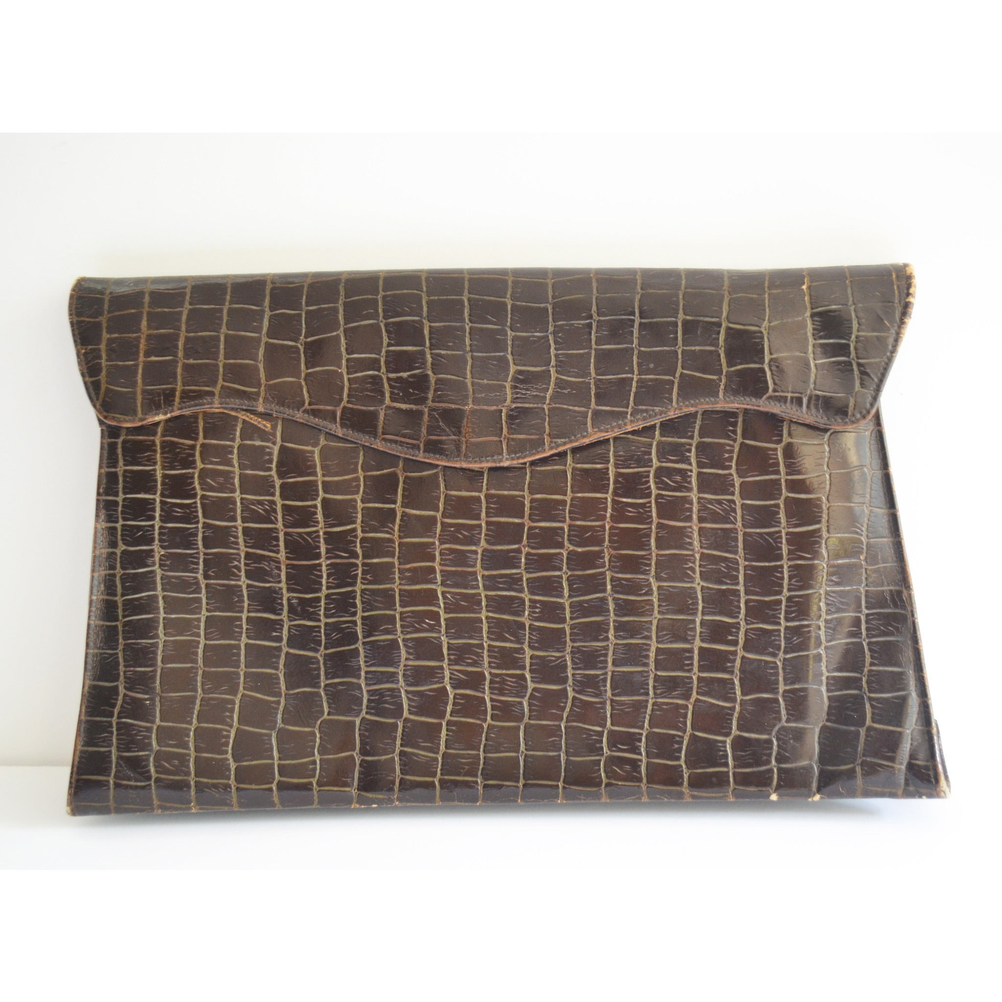 Vintage Crocodile Embossed Leather Clutch Purse