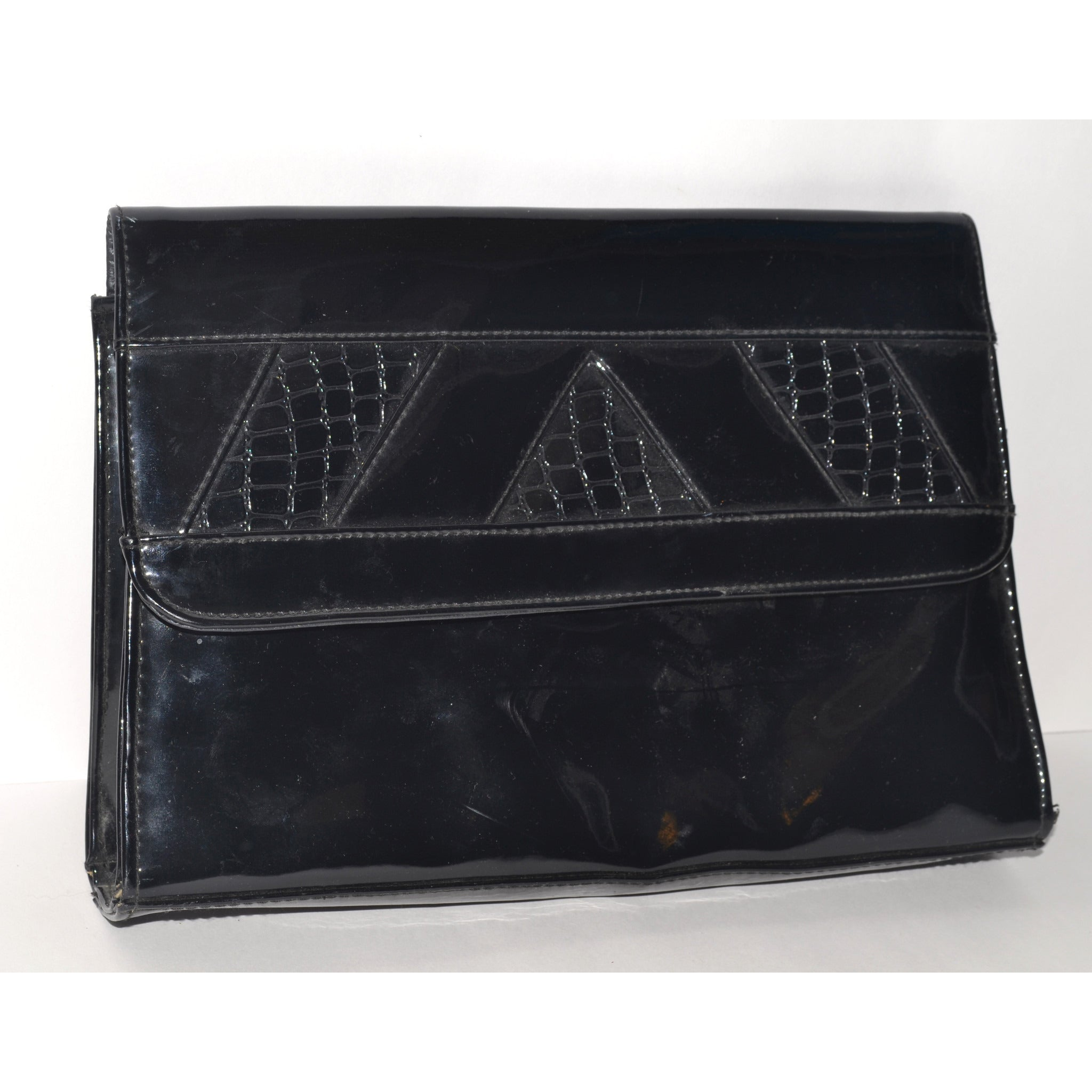 Vintage Black High Gloss Clutch Purse