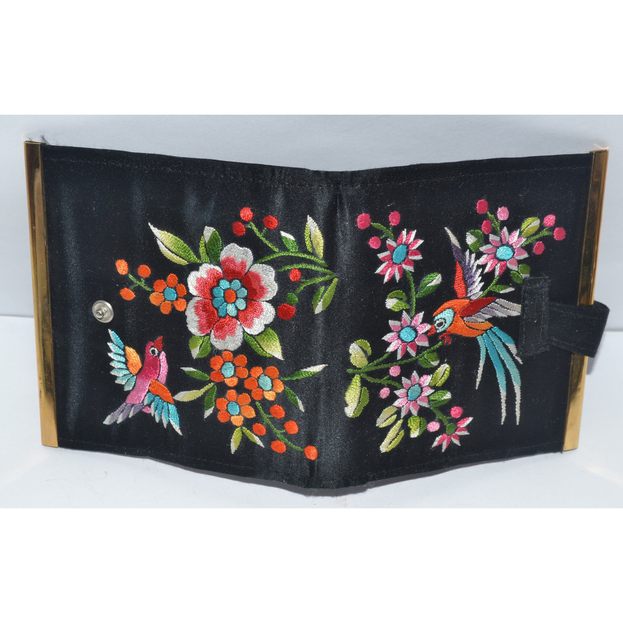 Vintage Black Embroidered Bird Motif Wallet