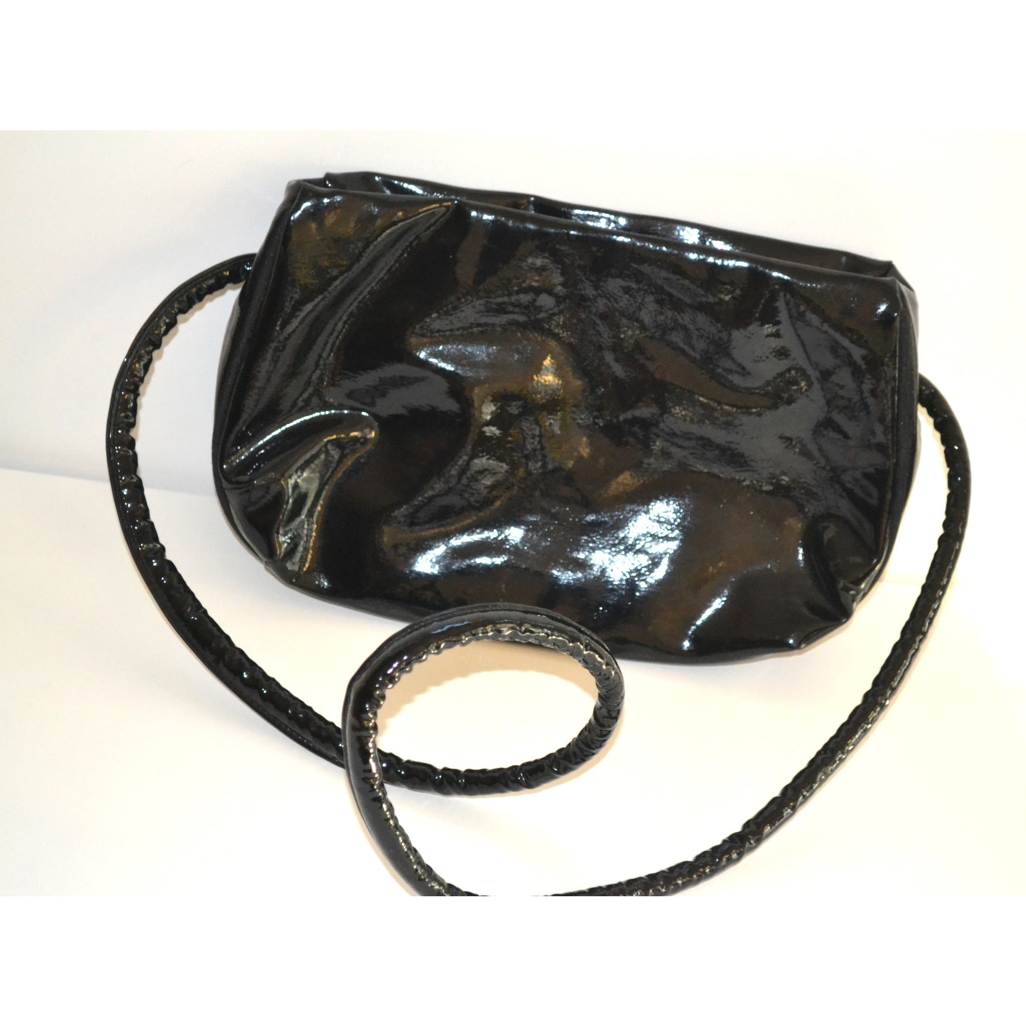 Vintage Patent Leather Licorice Handle Purse By Empress