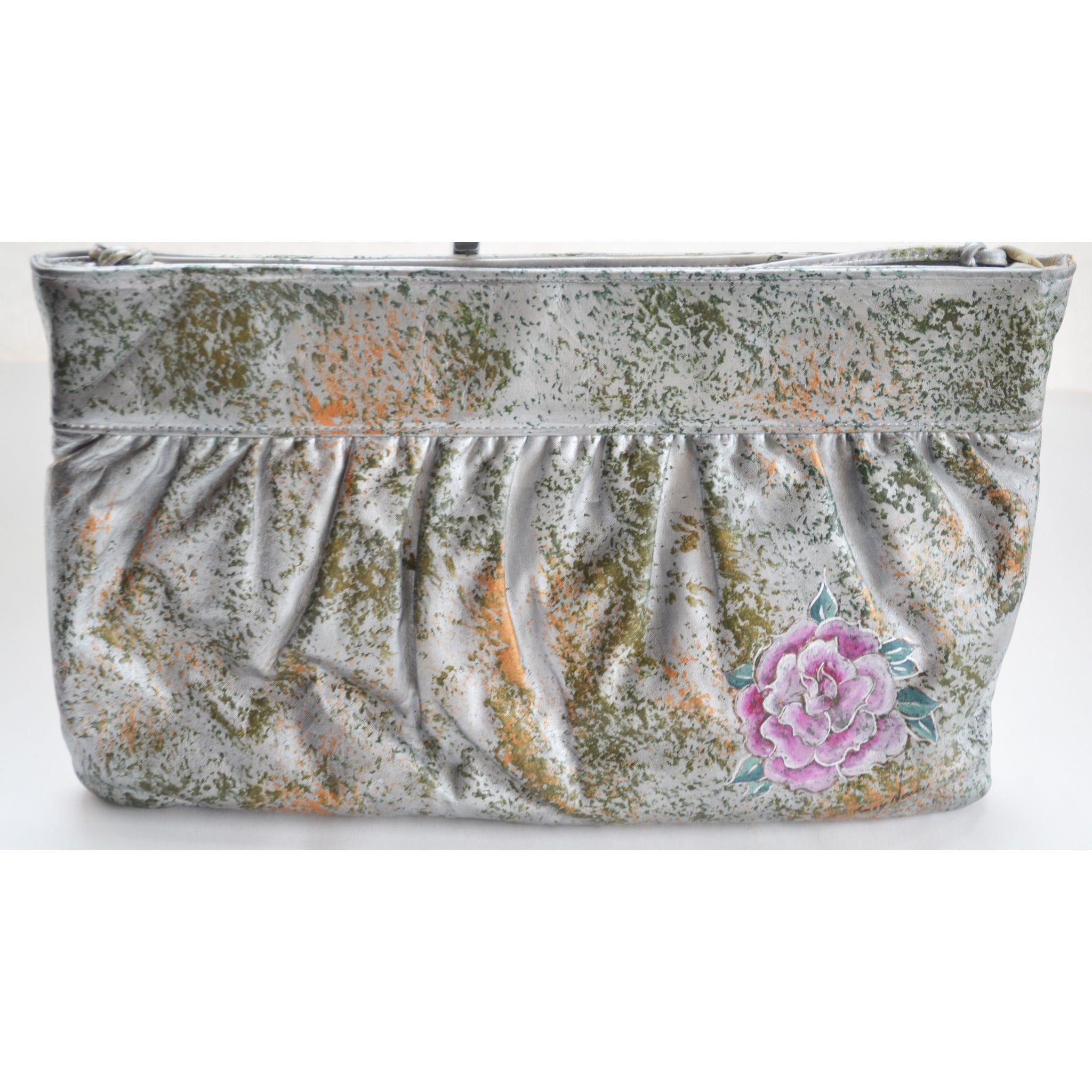 Vintage Silver Tone Painted Purse By Fancy Nancy - 1980's